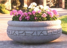 42 Dia x 16 H Stastny Stone Pots Hand-Carved Concrete Large Rockwall Planter
