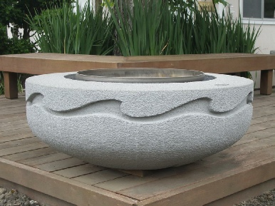 "Stastny Stone Pots Unique Custom Hand-Carved Concrete Firepit Wave 42"" Dia x 15"" H"