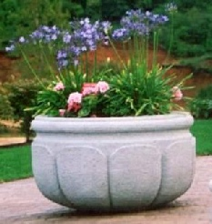 42 Dia x 24 H Stastny Stone Pot Large Custom Hand-Carved Concrete Lotus Planter
