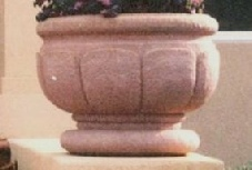 32  Dia x 24  H Stastny Stone Pots Hand-Carved Custom Concrete Large Lotus Planter with Pedestal Round Lip
