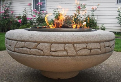 "Stastny Stone Pots Unique Custom Hand-Carved Concrete Firepit Rockwall 42"" Dia x 15"" H"