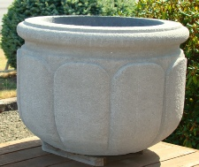 32 Dia x 24 H Stastny Stone Pot Large Hand-Carved Custom Lotus Planter