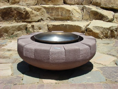 "Stastny Stone Pots Unique Custom Hand-Carved Concrete Firepit Rampart Rose Colored 42"" Dia x 15"" H"